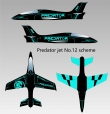 Pilot rc 2.2m Predator jet 12, retracts,air trap,tail pipe.