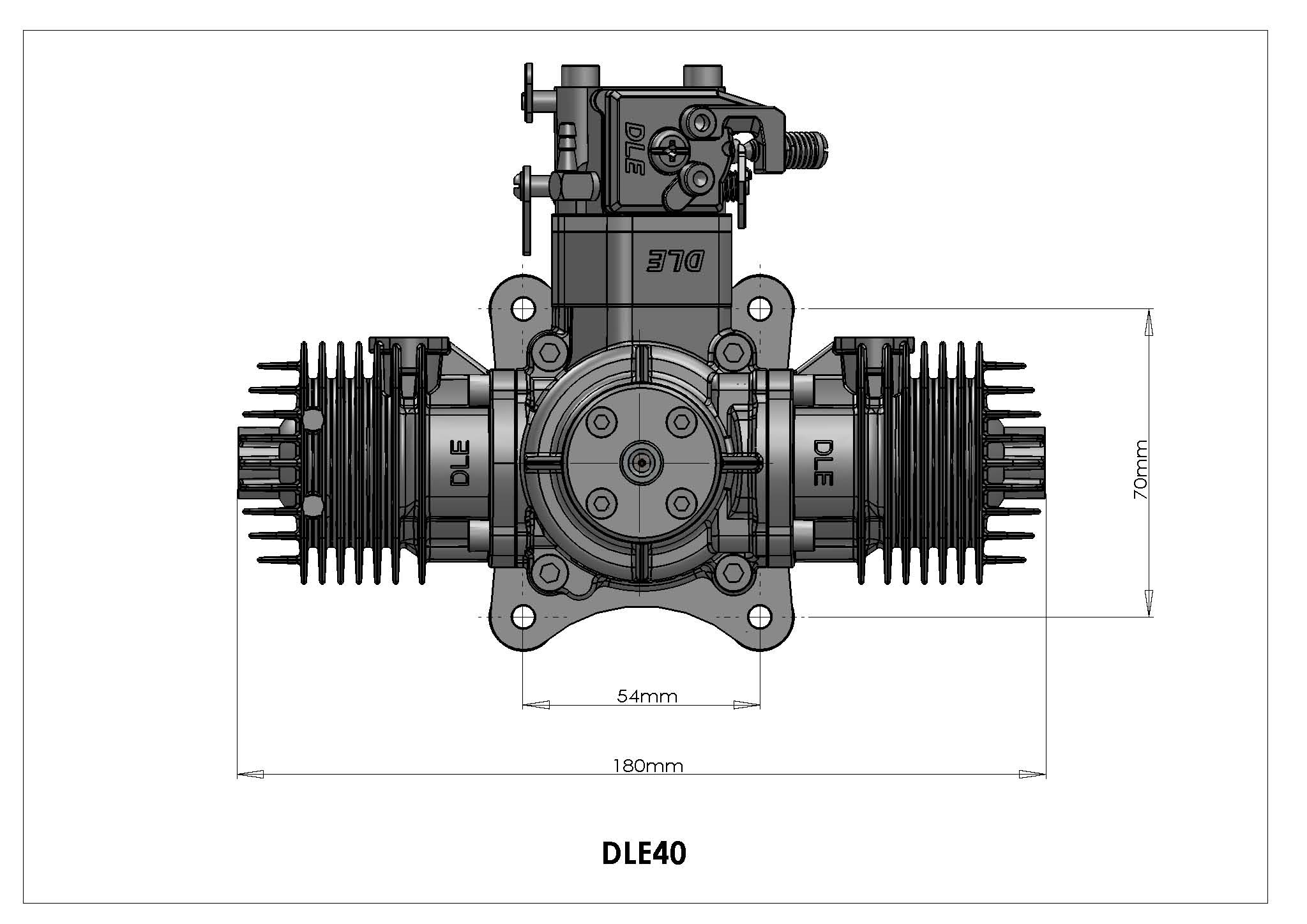 Dle Engines Rc Hobby Shop Diagram Of A Model Airplane Engine In Stock Dle40 Twin Two Stroke Specifications Number Dleg0040 Displacement 400 Cc 2